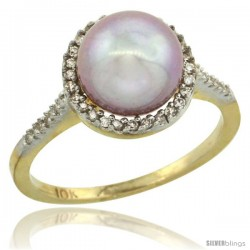 14k Gold Halo Engagement 8.5 mm Pink Pearl Ring w/ 0.146 Carat Brilliant Cut Diamonds, 7/16 in. (11mm) wide