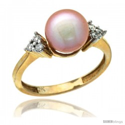 14k Gold 8.5 mm Pink Pearl Ring w/ 0.105 Carat Brilliant Cut Diamonds, 7/16 in. (11mm) wide