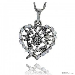Sterling Silver Heart Pendant with Flower, 7/8 in tall -Style Pa336