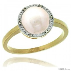 14k Gold Halo Engagement 8.5 mm White Pearl Ring w/ 0.022 Carat Brilliant Cut Diamonds, 7/16 in. (11mm) wide