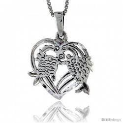 Sterling Silver Heart Pendant with Kissing Fish, 3/4 in tall