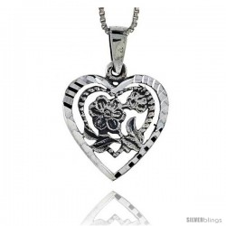 Sterling Silver Heart Pendant with Flower, 7/8 in tall
