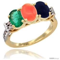 10K Yellow Gold Natural Emerald, Coral & Lapis Ring 3-Stone Oval 7x5 mm Diamond Accent