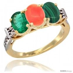 10K Yellow Gold Natural Emerald, Coral & Malachite Ring 3-Stone Oval 7x5 mm Diamond Accent
