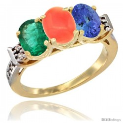 10K Yellow Gold Natural Emerald, Coral & Tanzanite Ring 3-Stone Oval 7x5 mm Diamond Accent