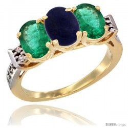 10K Yellow Gold Natural Lapis & Emerald Sides Ring 3-Stone Oval 7x5 mm Diamond Accent