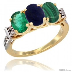 10K Yellow Gold Natural Emerald, Lapis & Malachite Ring 3-Stone Oval 7x5 mm Diamond Accent