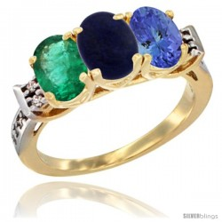 10K Yellow Gold Natural Emerald, Lapis & Tanzanite Ring 3-Stone Oval 7x5 mm Diamond Accent
