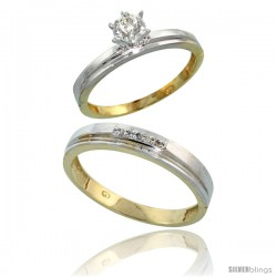 Gold Plated Sterling Silver 2-Piece Diamond Wedding Engagement Ring Set for Him & Her, 3mm & 4mm wide