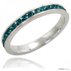 "Sterling Silver Eternity Band, w/ December Birthstone, Blue Topaz Crystals, 1/8"" (3 mm) wide"