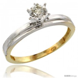 Gold Plated Sterling Silver Diamond Engagement Ring, 1/8 in wide -Style Agy106er
