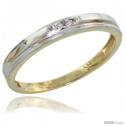 Gold Plated Sterling Silver Ladies Diamond Wedding Band, 1/8 in wide -Style Agy106lb