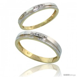 Gold Plated Sterling Silver Diamond 2 Piece Wedding Ring Set His 4mm & Hers 3mm