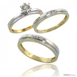 Gold Plated Sterling Silver Diamond Trio Wedding Ring Set His 4mm & Hers 3mm
