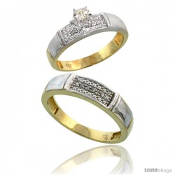 Gold Plated Sterling Silver 2-Piece Diamond Wedding Engagement Ring Set for Him & Her, 4.5mm & 5mm wide