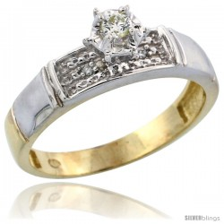 Gold Plated Sterling Silver Diamond Engagement Ring, 3/16 in wide -Style Agy107er