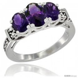 14K White Gold Natural Amethyst Ring 3-Stone Oval with Diamond Accent