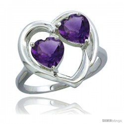 14k White Gold 2-Stone Heart Ring 6 mm Natural Amethyst Stones Diamond Accent