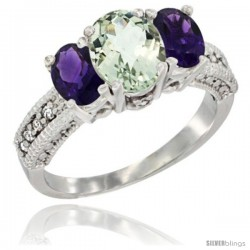 14k White Gold Ladies Oval Natural Green Amethyst 3-Stone Ring with Amethyst Sides Diamond Accent