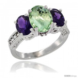 14K White Gold Ladies 3-Stone Oval Natural Green Amethyst Ring with Amethyst Sides Diamond Accent