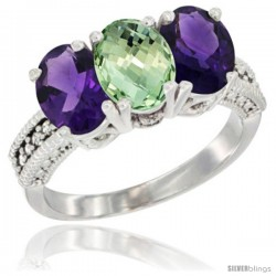 14K White Gold Natural Purple & Green Amethysts Ring 3-Stone 7x5 mm Oval Diamond Accent