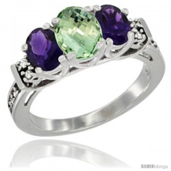 14K White Gold Natural Purple & Green Amethysts Ring 3-Stone Oval with Diamond Accent