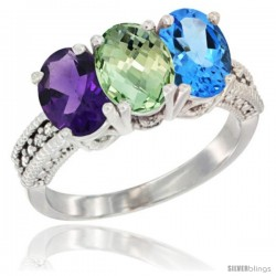 14K White Gold Natural Amethyst, Green Amethyst & Swiss Blue Topaz Ring 3-Stone 7x5 mm Oval Diamond Accent
