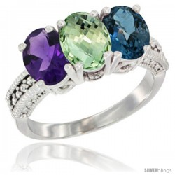14K White Gold Natural Amethyst, Green Amethyst & London Blue Topaz Ring 3-Stone 7x5 mm Oval Diamond Accent