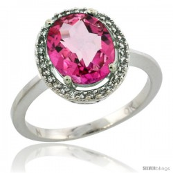 10k White Gold Diamond Halo Pink Topaz Ring 2.4 carat Oval shape 10X8 mm, 1/2 in (12.5mm) wide