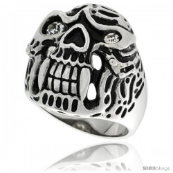Surgical Steel Biker Ring Alien Skull White CZ Eyes