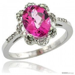 10k White Gold Diamond Halo Pink Topaz Ring 1.65 Carat Oval Shape 9X7 mm, 7/16 in (11mm) wide