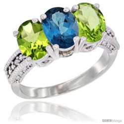 10K White Gold Natural London Blue Topaz & Peridot Sides Ring 3-Stone Oval 7x5 mm Diamond Accent