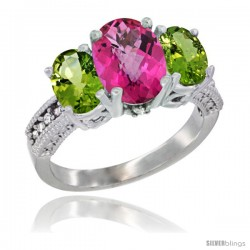 10K White Gold Ladies Natural Pink Topaz Oval 3 Stone Ring with Peridot Sides Diamond Accent