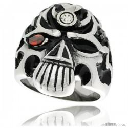 Surgical Steel Biker Skull Ring w/ Red CZ Eye and Jeweled Forehead
