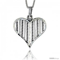 Sterling Silver Stringed Heart Pendant, 1 in tall
