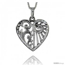 Sterling Silver Heart Pendant, 1 in tall