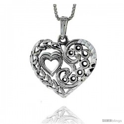 Sterling Silver Heart-in-a-Heart Pendant, 7/8 in tall