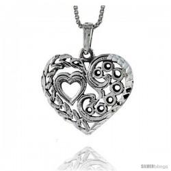 Sterling Silver Heart-in-a-Heart Pendant, 7/8 in tall