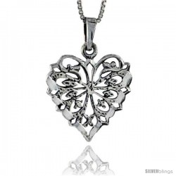 Sterling Silver Filigree Heart Pendant, 1 in tall -Style Pa333