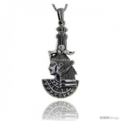 Sterling Silver Khnum Egyptian God Of Rebirth Pendant, 1 3/8 in long
