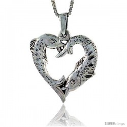 Sterling Silver Heart-Shaped Fish Pisces Sign Pendant, 1 in tall