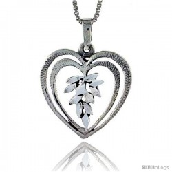 Sterling Silver Heart Pendant, 7/8 in tall -Style Pa342