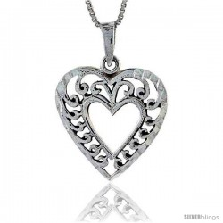 Sterling Silver Heart-in-a-Heart Filigree Pendant, 1 in tall