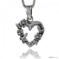 Sterling Silver Floral Heart Pendant, 5/8 in tall
