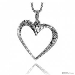Sterling Silver Cut-out Heart Pendant, 1 in tall