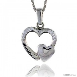 Sterling Silver Double Heart Pendant, 3/4 in tall