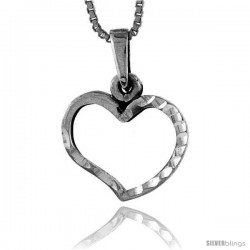 Sterling Silver Cut-out Heart Pendant, 5/8 in tall