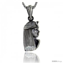 Sterling Silver Egyptian Pharaoh Pendant, 3/4 in long