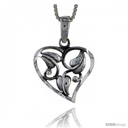 Sterling Silver Cut-out Heart Pendant with Leaves, 3/4 tall