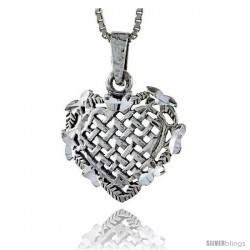 Sterling Silver Weaved Heart Pendant, 3/4 in tall -Style Pa352